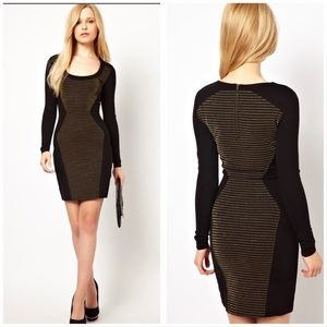 French Connection Black Gold Stretch Sheath Dress